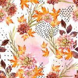 Autumn watercolor floral seamless pattern. Stock Image