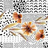 Autumn watercolor flowers on doodle background. Stock Photography