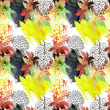 Autumn watercolor japanese maple leaf and doodle seamless pattern Stock Images