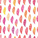 Autumn watercolor leaves pattern Stock Image