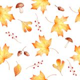 Autumn watercolor seamless hand drawn pattern with leaves and berries Royalty Free Stock Photography