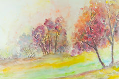 Autumn watercolor tree. Stock Photo