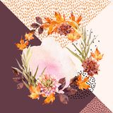 Autumn watercolor wreath on geometric background with flowers, leaves, doodles. Stock Photos