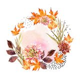 Autumn watercolor wreath on splash background with flowers, leaves, doted circles. Stock Image