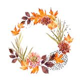 Autumn watercolor wreath on splash background with flowers, leaves, doted circles. Royalty Free Stock Photos