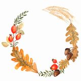 Autumn watercolor wreath on splash background with leaves, doted circles Hand drawn falling leaf,doodle,watercolor for fall design royalty free illustration