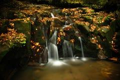 Autumn waterfall. A little waterfall on the slanic-moldova river Stock Photo