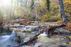 Autumn waterfall. Beautiful waterfall flowing through the autumn forest with a lot of fallen leaves Stock Image