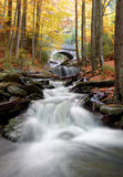 Autumn waterfall in bohemia. Mountain brook in the autumn landscape Stock Photography