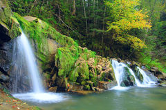 Autumn waterfall in Carpaty mountain Stock Images