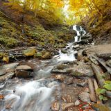 Autumn waterfall in forest Royalty Free Stock Photography