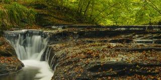 Autumn Waterfall Holywell Dene Image stock