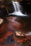 Autumn Waterfall Leaves Pool stock photo