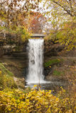 Autumn Waterfall. This is the Minnehaha Falls in Minneapolis, Minnesota Stock Photos