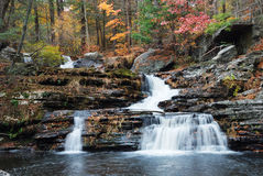 Autumn Waterfall in mountain Royalty Free Stock Images