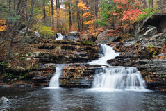 Autumn Waterfall in mountain Stock Photo