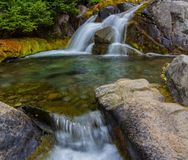 Autumn Waterfall, Mt. Rainier National Park, Washington State Stock Photo