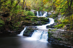 Autumn Waterfall with trees Stock Image