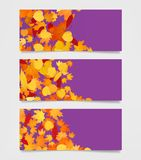 Autumn web banners for sites. Moders promotional frames template with yellow, orange and red leaves. Autumn web banners for sites. Moders promotional frames Stock Images