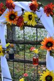 Autumn wedding arch flowers royalty free stock image