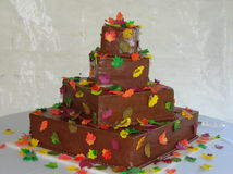 Autumn wedding cake stock photo