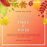 Autumn Wedding com Autumn Foliage Invitation Template Design ilustração stock