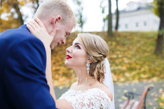 Autumn wedding emotions Royalty Free Stock Images