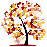Autumn wedding tree. Of red and yellow Hearts hanging on the branches with two birds sitting stock illustration