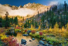 Autumn on the Wenatchee River, Washington State. Fall color lights up a small waterway off the Wenatchee River in Tumwater Canyon of Washington State stock photos