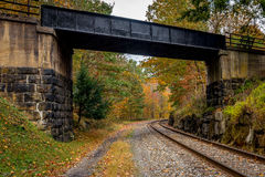 Autumn West Virginia Train Line Royaltyfri Fotografi