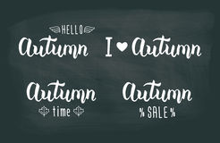 Autumn white handwritten set. Autumn logos and emblems for invitation, greeting card, t-shirt, prints and posters.  Royalty Free Stock Photos