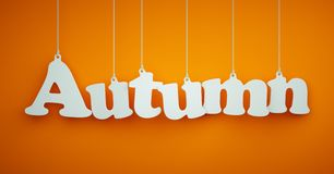 Autumn - White Letters Hanging on the Ropes Royalty Free Stock Photo