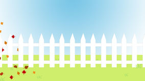 Autumn White Picket Fence Stock Image
