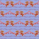 Autumn wild grape in blue background. Seamless border pattern Stock Photography