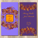 Autumn wild grape wedding invitation card. Printable Vector illustration Royalty Free Stock Photos