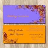 Autumn wild grape wedding invitation card. Printable vector illustration Stock Photos