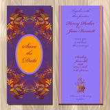 Autumn wild grape wedding invitation card. Printable vector illustration Stock Images