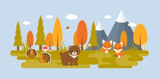 Autumn wild with tree and animals in flat design such as bear. Turkey, foxes, bird, mushroom, pine and grass. suitable for thanksgiving holiday concept Royalty Free Stock Photo
