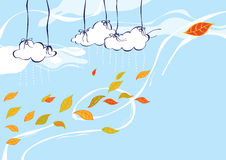Autumn wind. Autumn Illustration of the wind playing with fallen leaves