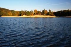 Autumn wind at Mseno Reservoir, Jablonec nad Nisou. Autumn wind creating waves at Mseno Reservoir in Jablonec nad Nisou Royalty Free Stock Images