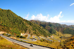 Autumn winding road. 2014.10.1 on china  Autumn winding road Royalty Free Stock Photos