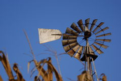 Autumn windmill. An old rusty windmill on an Amish farm Royalty Free Stock Images