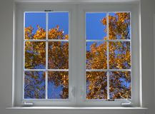 Autumn window stock photography