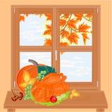 Autumn window and celebratory food vector Stock Photo