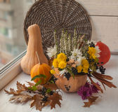 Autumn window design with a pumpkin Royalty Free Stock Photography