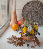 Autumn window design with a pumpkin Royalty Free Stock Images