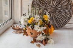 Autumn window design with a pumpkin Stock Photo