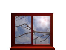 Autumn window with sunlight. Autumnal window in red, looking at a bare branch and strong sunlight. 3d illustration stock illustration