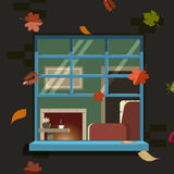 Autumn window. Vector illustration Stock Images