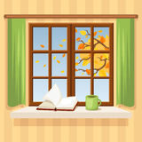 Autumn window. Vector illustration. Stock Photo